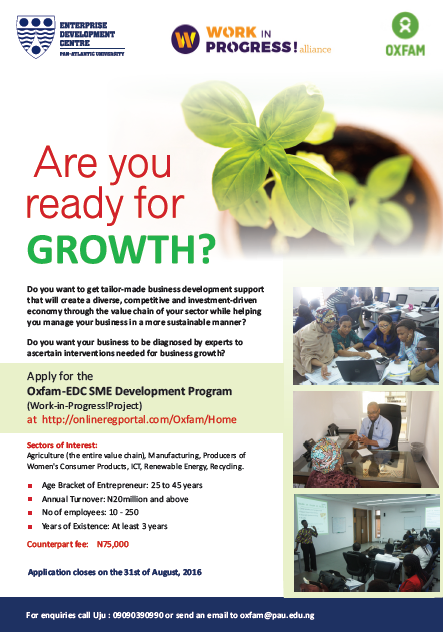 Apply for the Oxfam-EDC SME Development Program in Nigeria