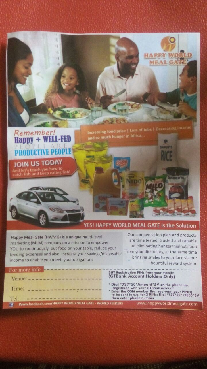 Join Our Fast-Track Team And Make It Big In Happy World Meal Gate Business in 6 Month in Ibadan, Nigeria.