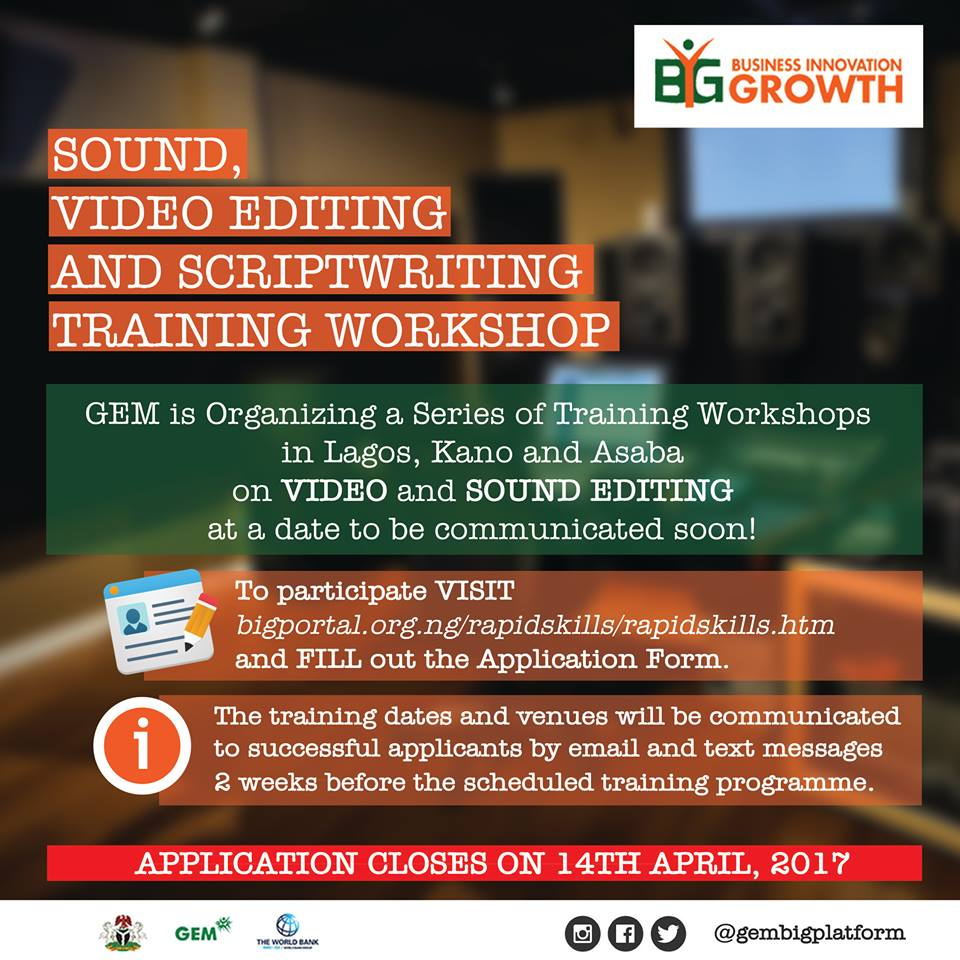 Apply for Sound, Video Editing and Scriptwriting Free Training Workshop by GEM @ BigPortal, Closes 14th April, 2017.