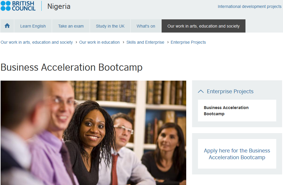 2017 British Council 'Business Accelerator Bootcamp'  for Entrepreneurs in Nigeria