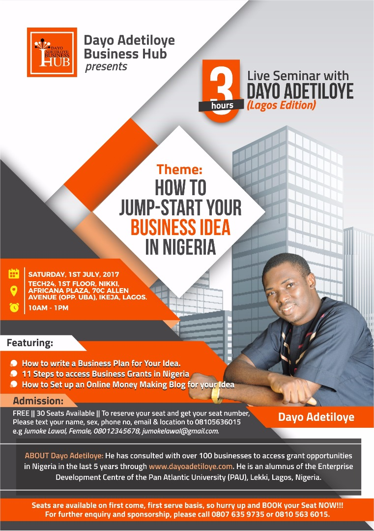 Free Lagos Live Seminar with Dayo Adetiloye on Saturday 1st of July 2017