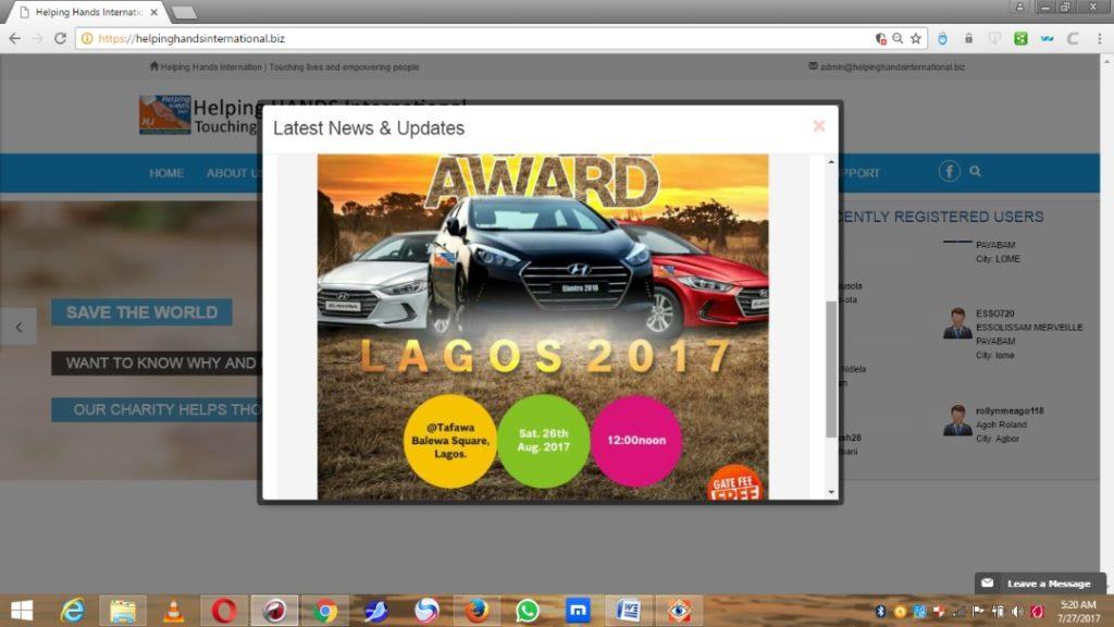 Helping Hands International August 25th Car Award 2017