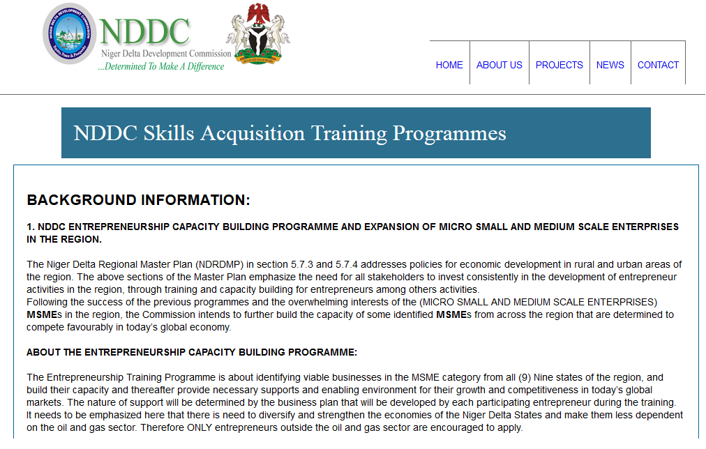 NDDC just published Entrepreneurship Capacity Building Programme and Skills Acquisition Programmes.