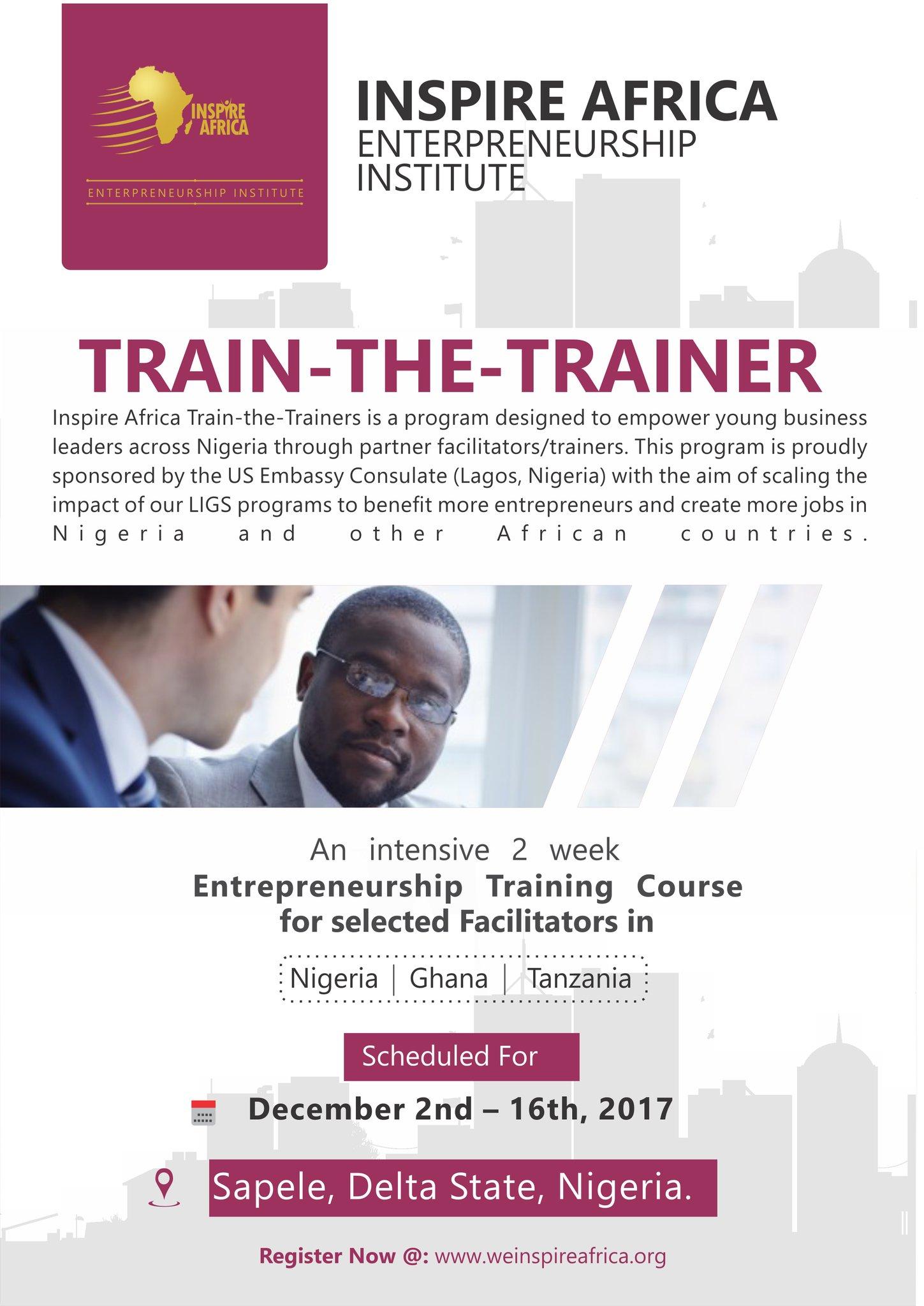 CALL FOR APPLICATION: INSPIRE AFRICA TRAIN-THE-TRAINERS ENTREPRENEURSHIP PROGRAM