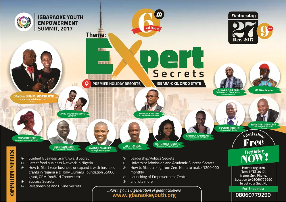 Special Invitation To the 6th Edition of My Yearly Youth Summit in Ondo State, Nigeria on 27th December 2017.