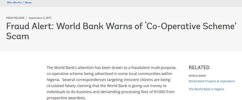 World Bank and Development Bank of Nigeria Warn Nigerians Against Fraudulent Multi-Purpose Co-operative Scheme