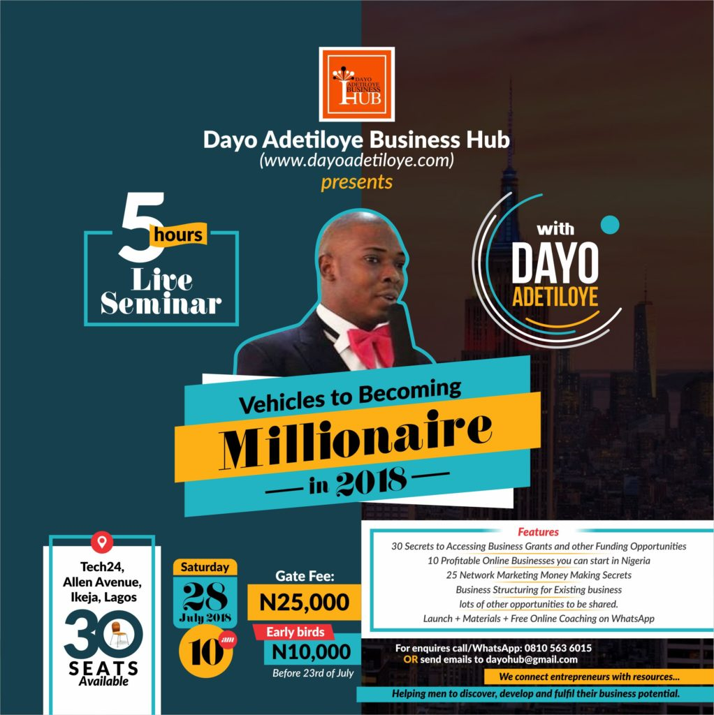 Special Invitation: 5 Hrs Live Seminar with Dayo Adetiloye (Lagos)