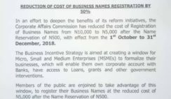Corporate Affairs Commission Reduction of Cost of Business Names Registration by 50% from October 1st to December 31st (90days)