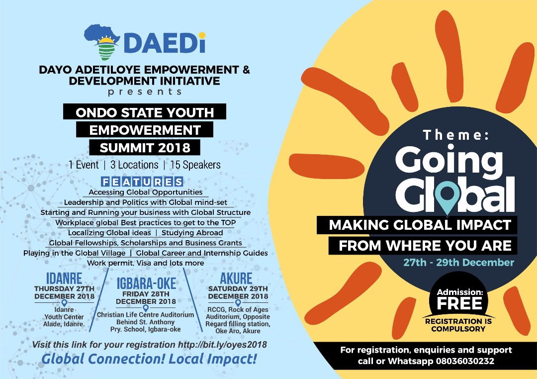 Special Invitation: ONDO STATE YOUTH EMPOWERMENT SUMMIT 2018