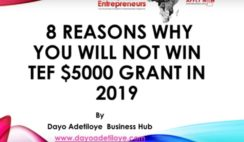 8 Reasons Why You Will Not Win Tony Elumelu $5000 Grant in 2019