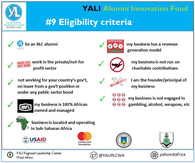 Apply for $10,000 YALI West Africa Alumni Innovation Fund (YAIF) 2019
