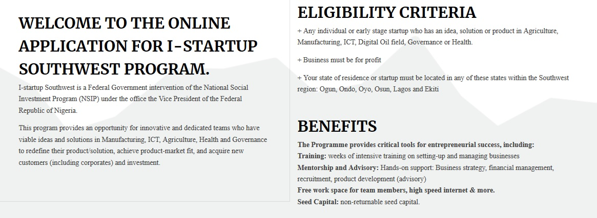 APPLICATION FOR I-STARTUP SOUTHWEST PROGRAM.