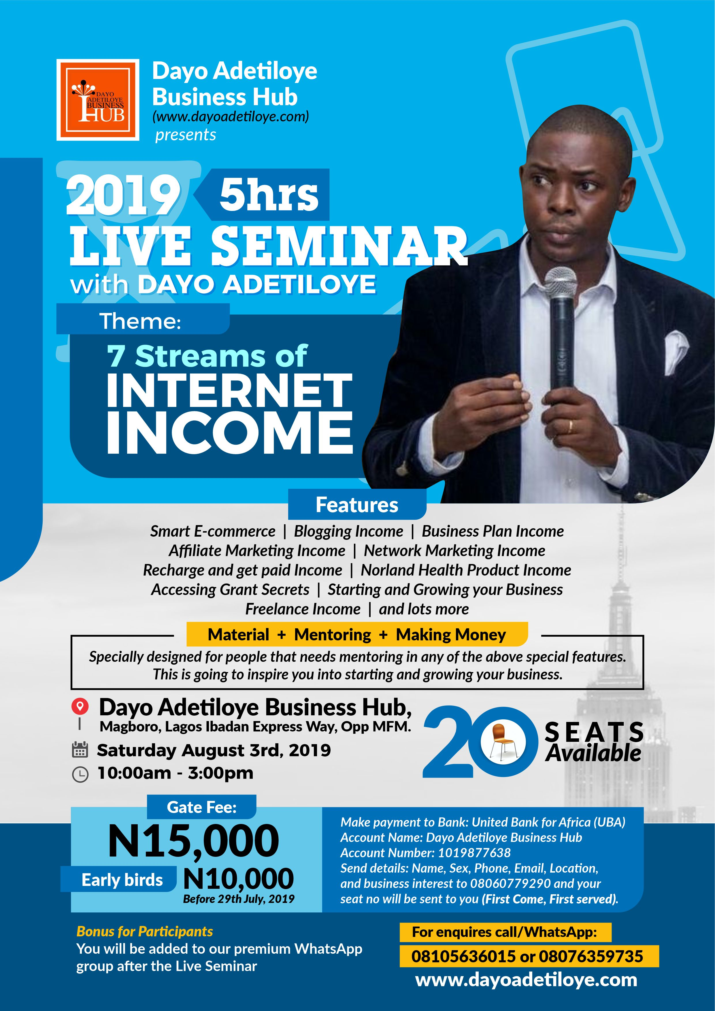Special Invitation: Attend 2019 Lagos live Seminar with Dayo Adetiloye on August 3rd 2019.